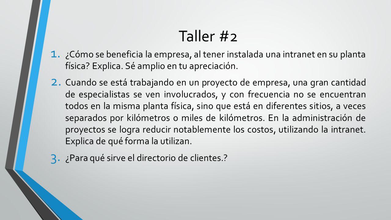 Taller #2 1. ¿Cómo se beneficia la empresa, al tener instalada una intranet en su planta física? Explica. Sé amplio en tu apreciación. 2. Cuando se es