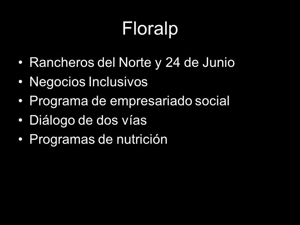 Floralp Rancheros del Norte y 24 de Junio Negocios Inclusivos Programa de empresariado social Diálogo de dos vías Programas de nutrición