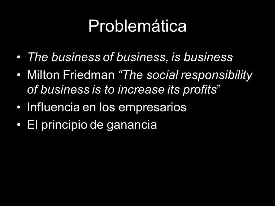 Problemática The business of business, is business Milton Friedman The social responsibility of business is to increase its profits Influencia en los empresarios El principio de ganancia