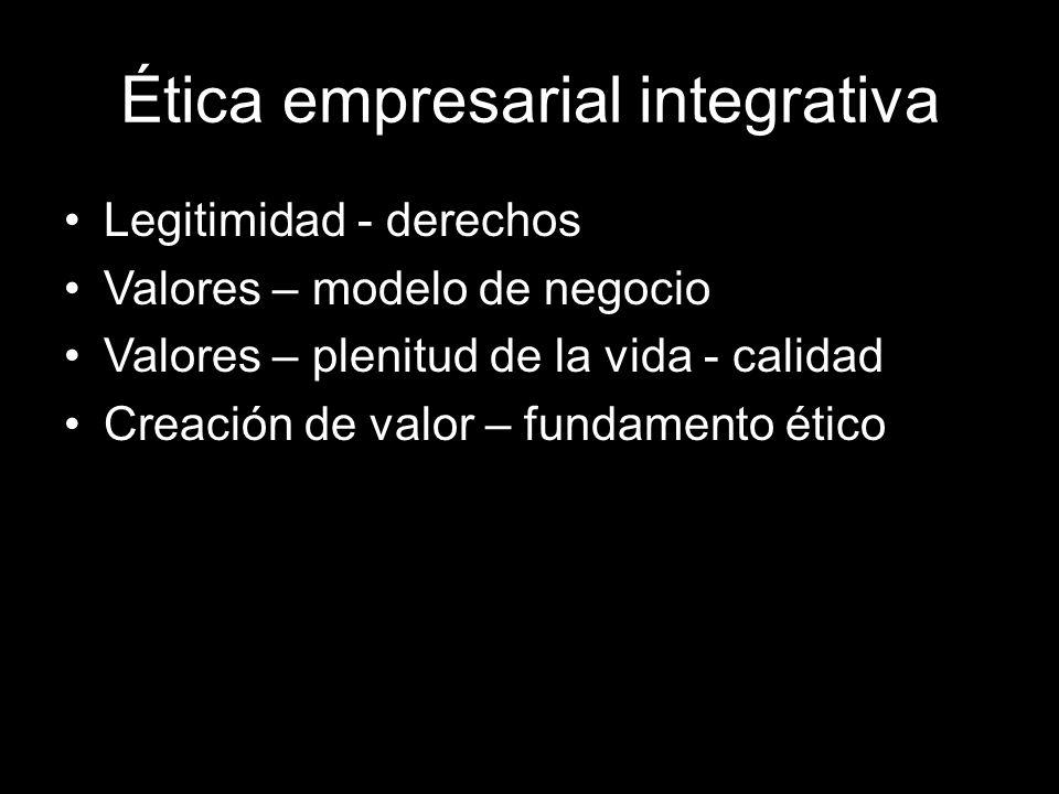 Ética empresarial integrativa Legitimidad - derechos Valores – modelo de negocio Valores – plenitud de la vida - calidad Creación de valor – fundamento ético