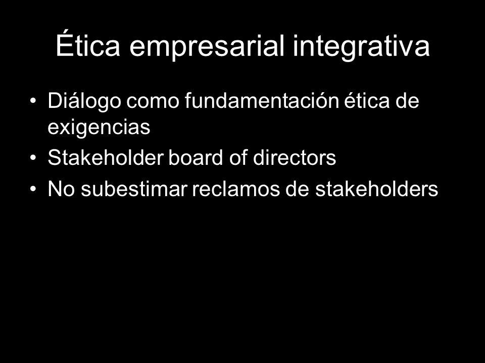 Ética empresarial integrativa Diálogo como fundamentación ética de exigencias Stakeholder board of directors No subestimar reclamos de stakeholders