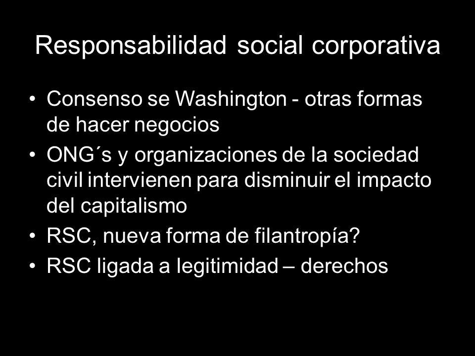 Responsabilidad social corporativa Consenso se Washington - otras formas de hacer negocios ONG´s y organizaciones de la sociedad civil intervienen para disminuir el impacto del capitalismo RSC, nueva forma de filantropía.