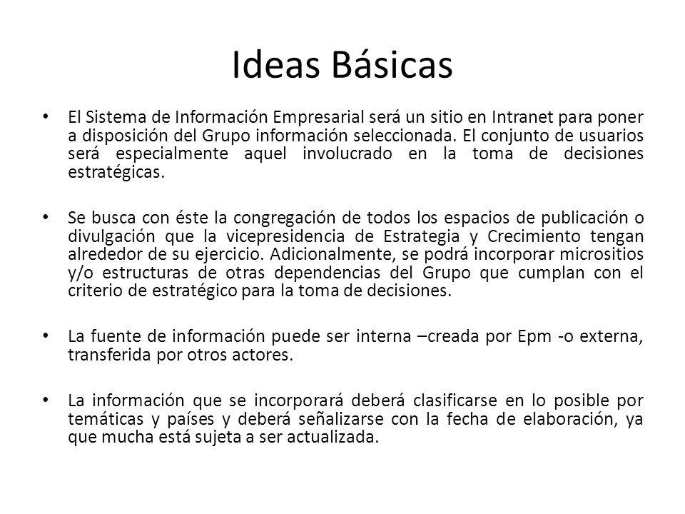 Ideas Básicas El Sistema de Información Empresarial será un sitio en Intranet para poner a disposición del Grupo información seleccionada. El conjunto