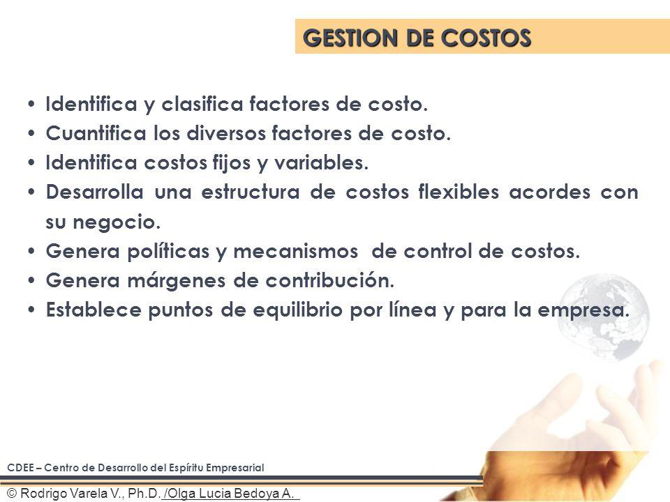 © Rodrigo Varela V., Ph.D. /Olga Lucia Bedoya A. Identifica y clasifica factores de costo.