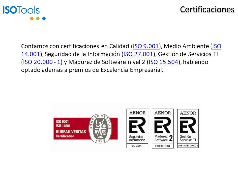 Certificaciones Contamos con certificaciones en Calidad (ISO 9.001), Medio Ambiente (ISO 14.001), Seguridad de la Información (ISO 27.001), Gestión de Servicios TI (ISO 20.000 - 1) y Madurez de Software nivel 2 (ISO 15.504), habiendo optado además a premios de Excelencia Empresarial.ISO 9.001ISO 14.001ISO 27.001ISO 20.000 - 1ISO 15.504