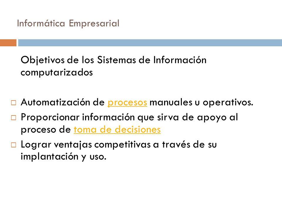Informática Empresarial Objetivos de los Sistemas de Información computarizados  Automatización de procesos manuales u operativos.procesos  Proporci