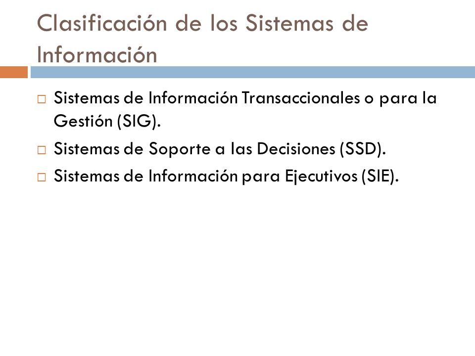 Clasificación de los Sistemas de Información  Sistemas de Información Transaccionales o para la Gestión (SIG).  Sistemas de Soporte a las Decisiones