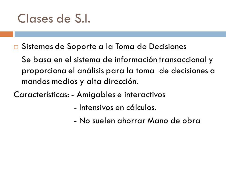 Clases de S.I.  Sistemas de Soporte a la Toma de Decisiones Se basa en el sistema de información transaccional y proporciona el análisis para la toma