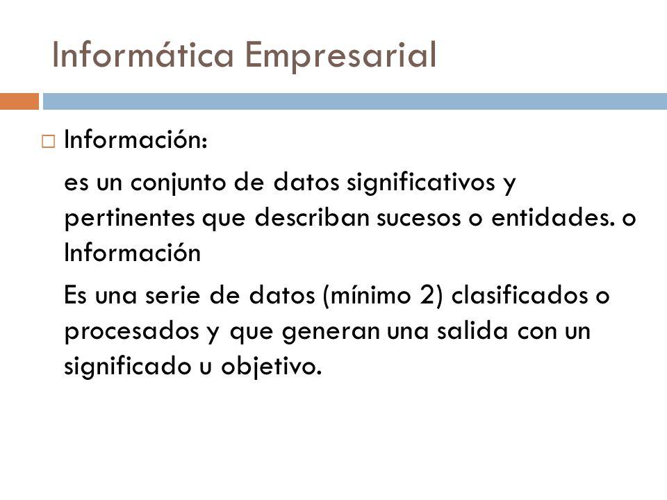 Informática Empresarial  Información: es un conjunto de datos significativos y pertinentes que describan sucesos o entidades. o Información Es una se