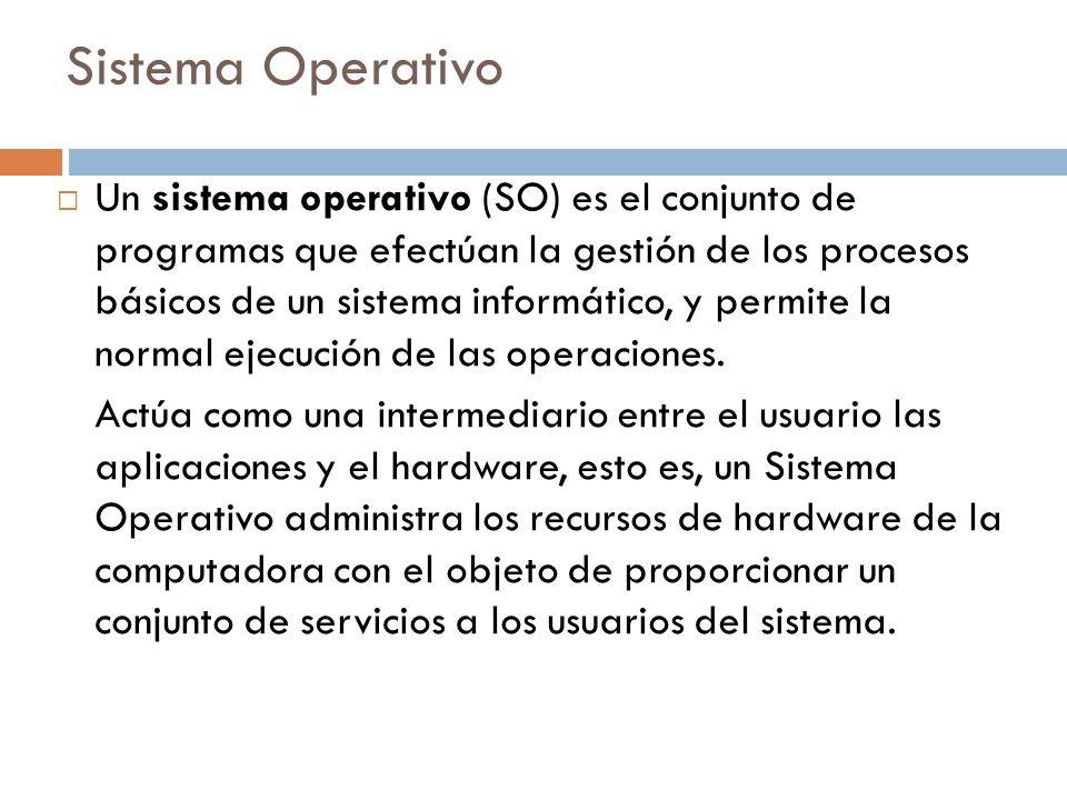  Un sistema operativo (SO) es el conjunto de programas que efectúan la gestión de los procesos básicos de un sistema informático, y permite la normal