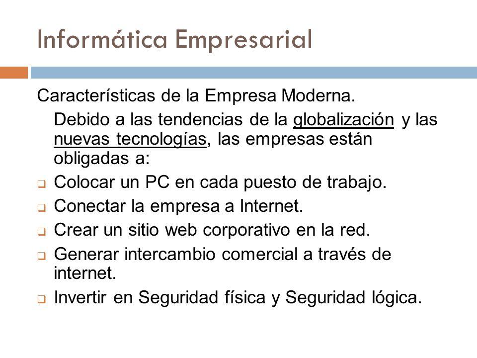 Informática Empresarial Características de la Empresa Moderna. Debido a las tendencias de la globalización y las nuevas tecnologías, las empresas está