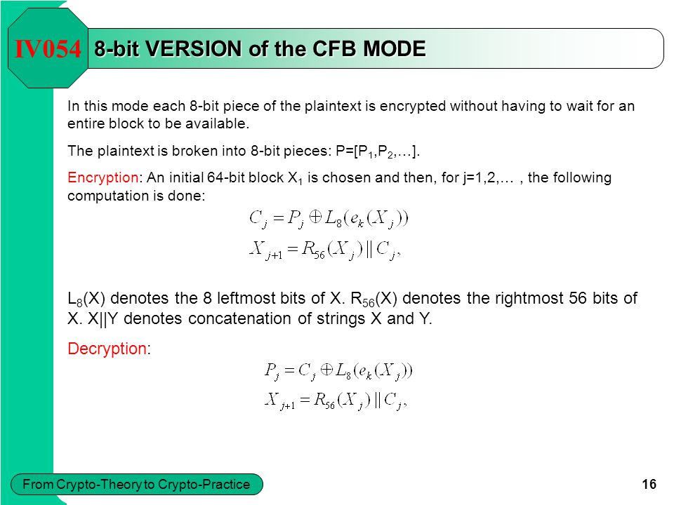 16 From Crypto-Theory to Crypto-Practice 8-bit VERSION of the CFB MODE In this mode each 8-bit piece of the plaintext is encrypted without having to w