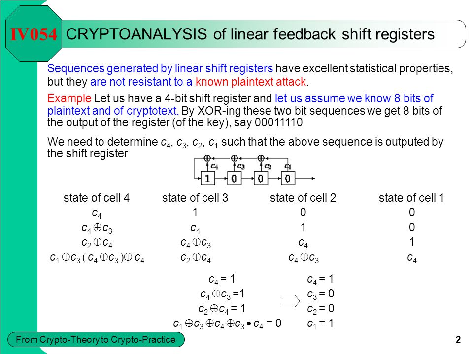 2 From Crypto-Theory to Crypto-Practice CRYPTOANALYSIS of linear feedback shift registers Sequences generated by linear shift registers have excellent statistical properties, but they are not resistant to a known plaintext attack.