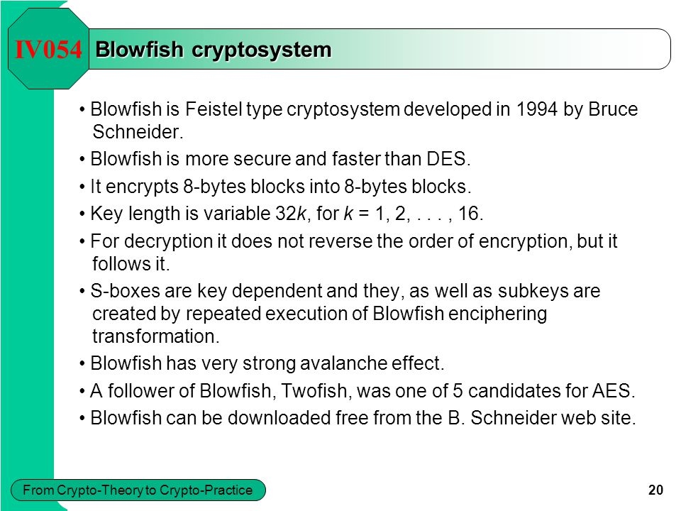 20 From Crypto-Theory to Crypto-Practice Blowfish cryptosystem IV054 Blowfish is Feistel type cryptosystem developed in 1994 by Bruce Schneider.