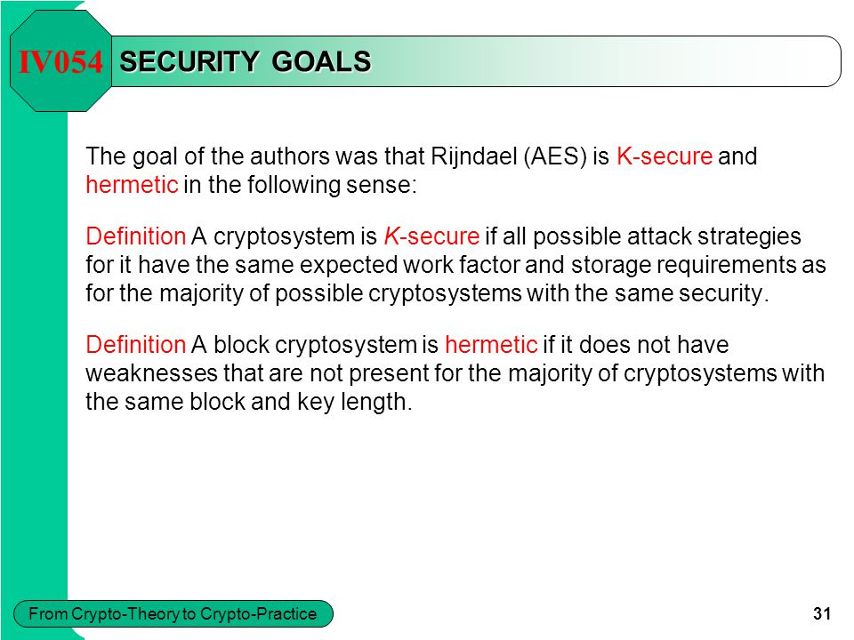 31 From Crypto-Theory to Crypto-Practice SECURITY GOALS The goal of the authors was that Rijndael (AES) is K-secure and hermetic in the following sens