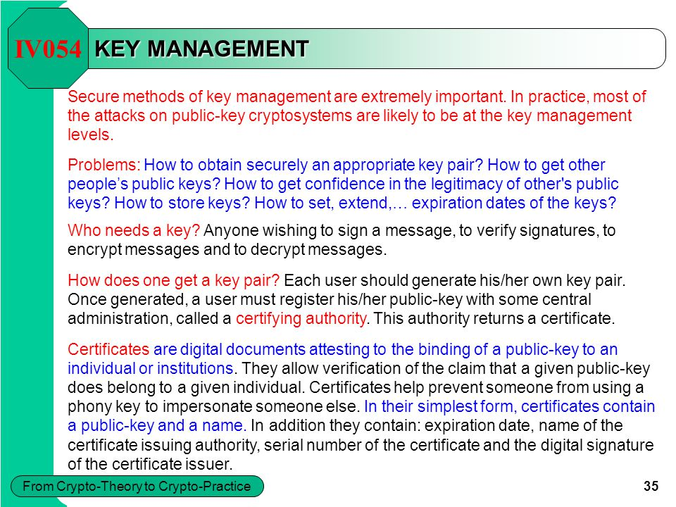 35 From Crypto-Theory to Crypto-Practice KEY MANAGEMENT Secure methods of key management are extremely important.