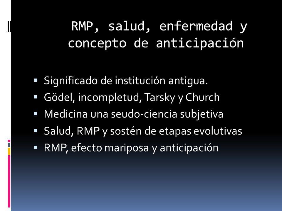 RMP, salud, enfermedad y concepto de anticipación  Significado de institución antigua.