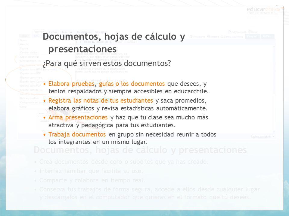 Documentos, hojas de cálculo y presentaciones Crea documentos desde cero o sube los que ya has creado.