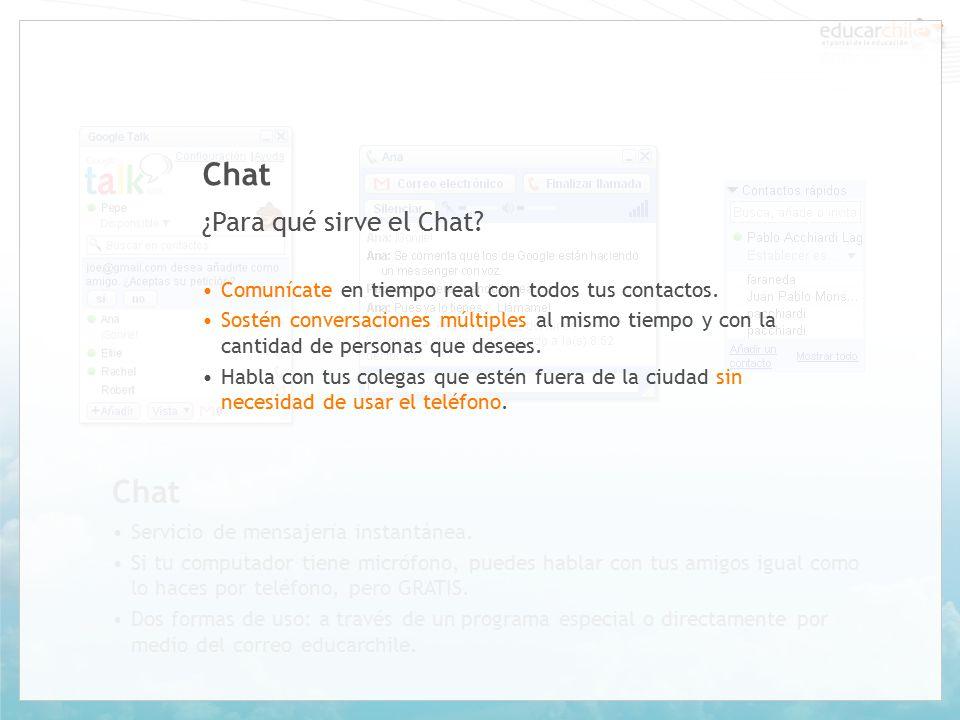 Chat Servicio de mensajería instantánea.