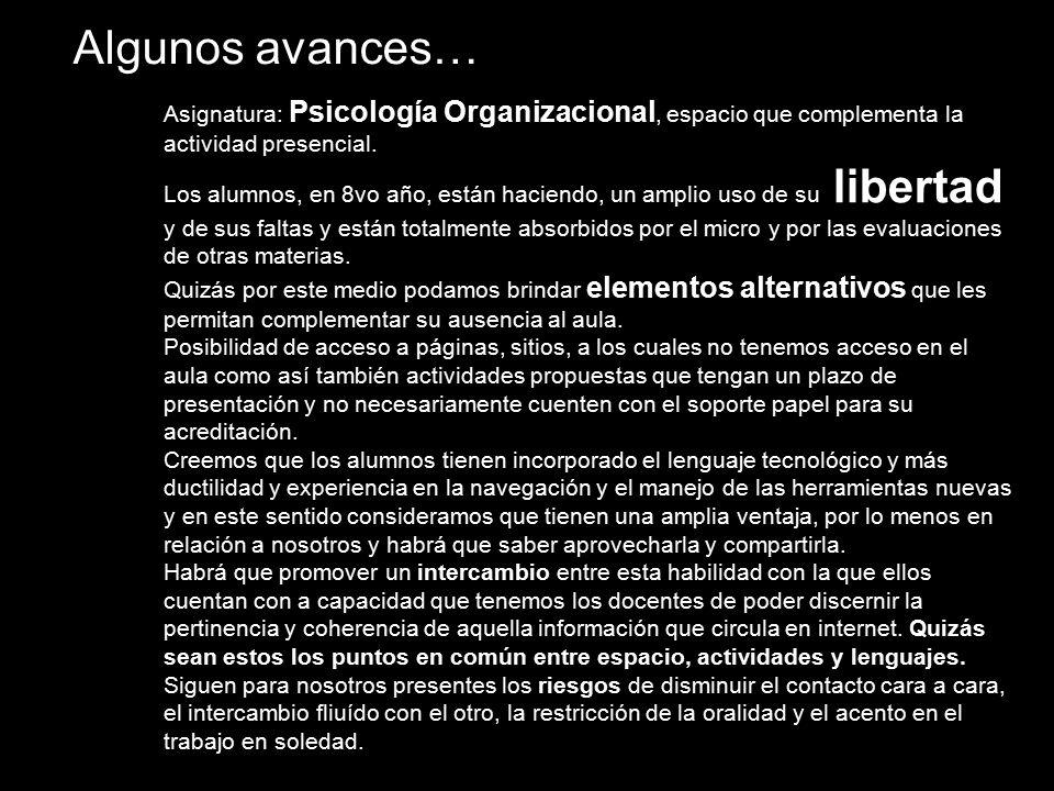 Algunos avances… Asignatura: Psicología Organizacional, espacio que complementa la actividad presencial.