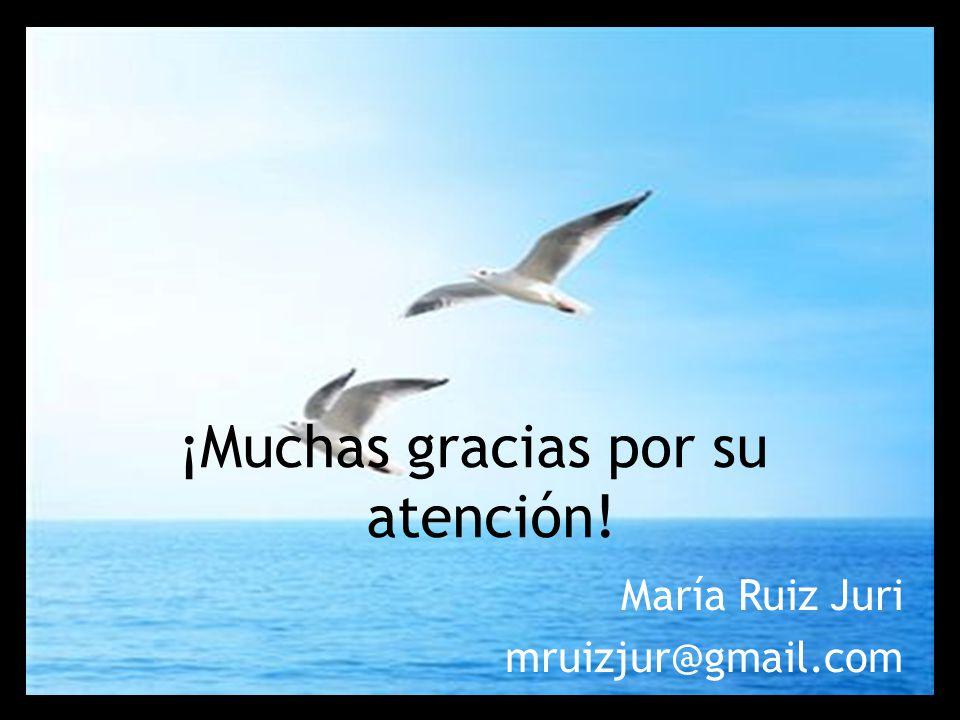 ¡Muchas gracias por su atención! María Ruiz Juri mruizjur@gmail.com