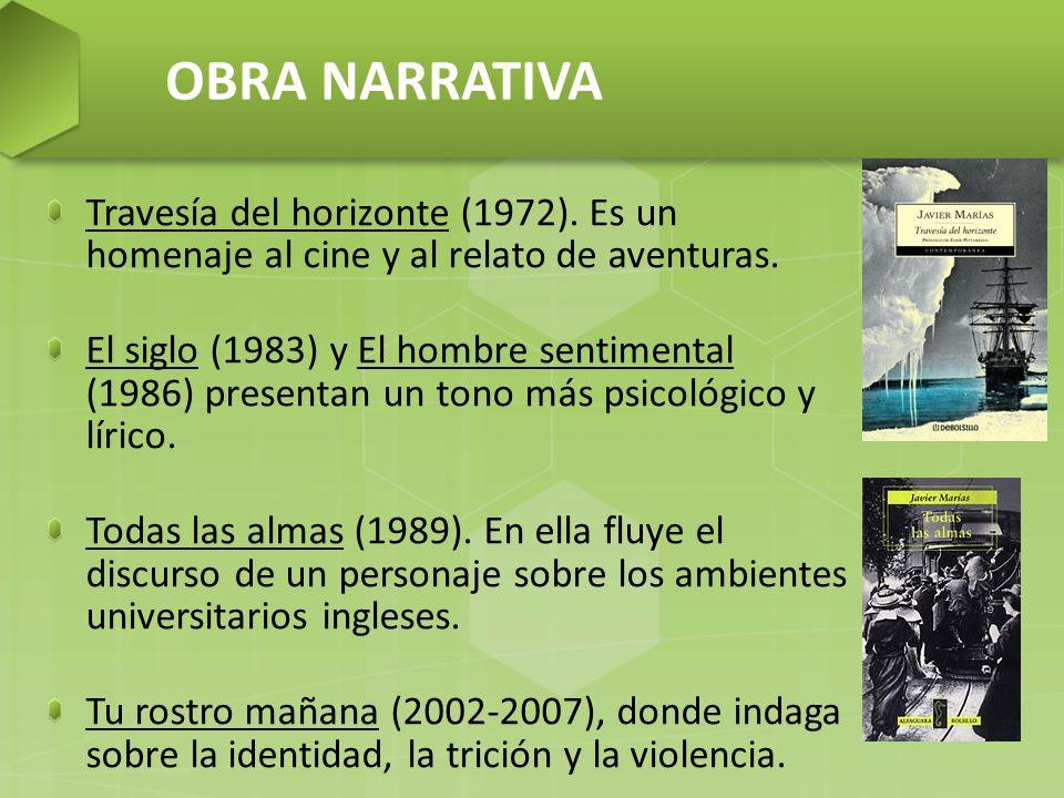 OBRA NARRATIVA Travesía del horizonte (1972). Es un homenaje al cine y al relato de aventuras.