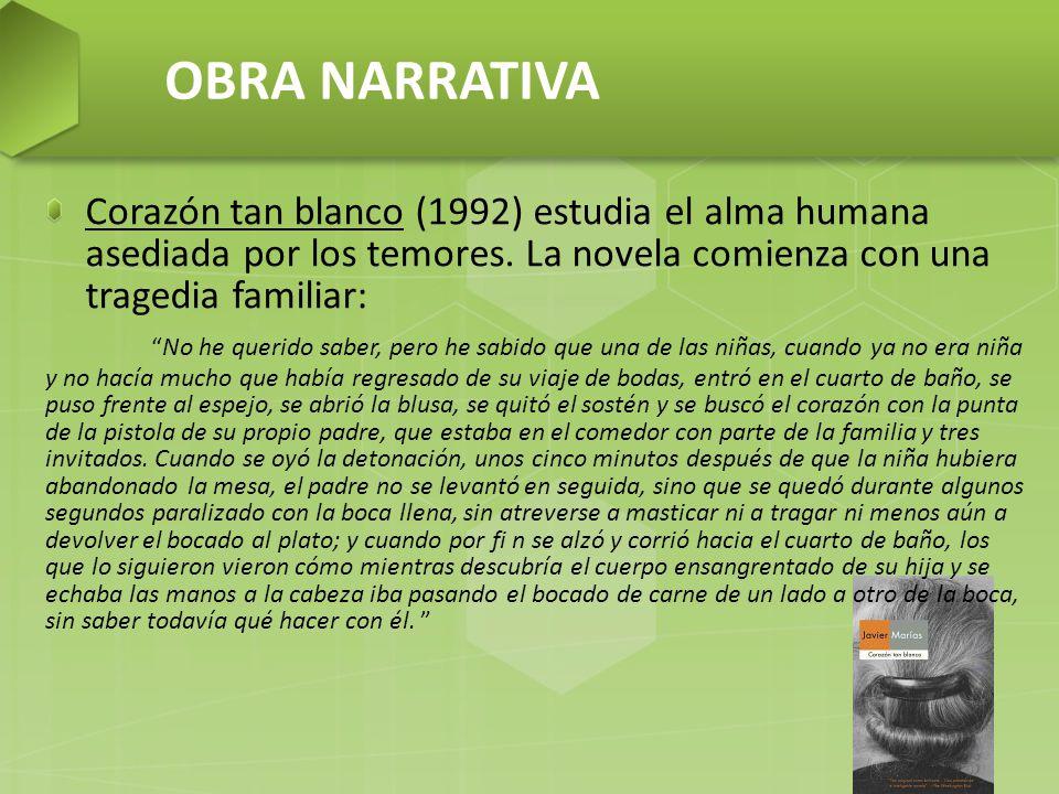 OBRA NARRATIVA Corazón tan blanco (1992) estudia el alma humana asediada por los temores.