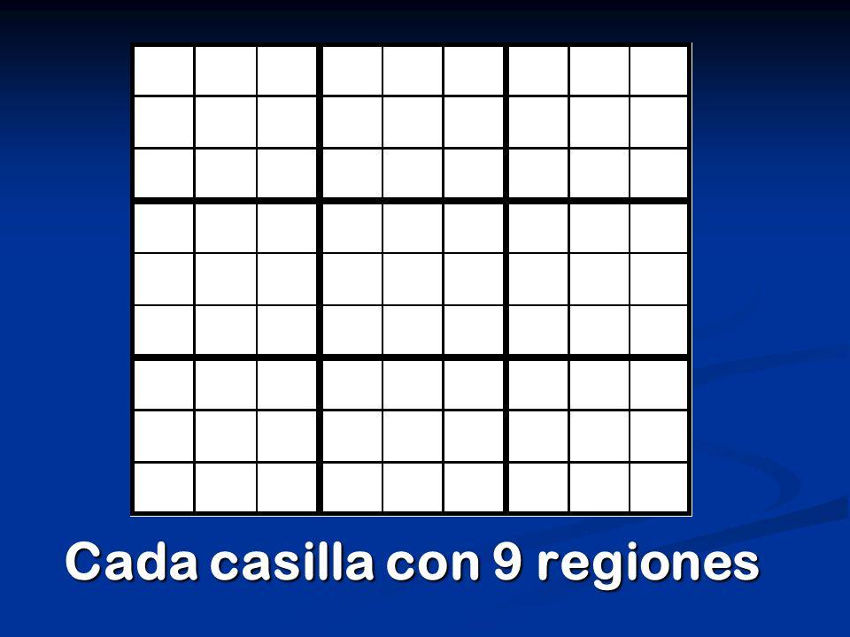 Cada casilla con 9 regiones