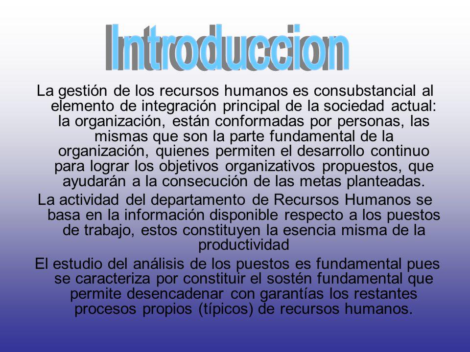 La gestión de los recursos humanos es consubstancial al elemento de integración principal de la sociedad actual: la organización, están conformadas por personas, las mismas que son la parte fundamental de la organización, quienes permiten el desarrollo continuo para lograr los objetivos organizativos propuestos, que ayudarán a la consecución de las metas planteadas.