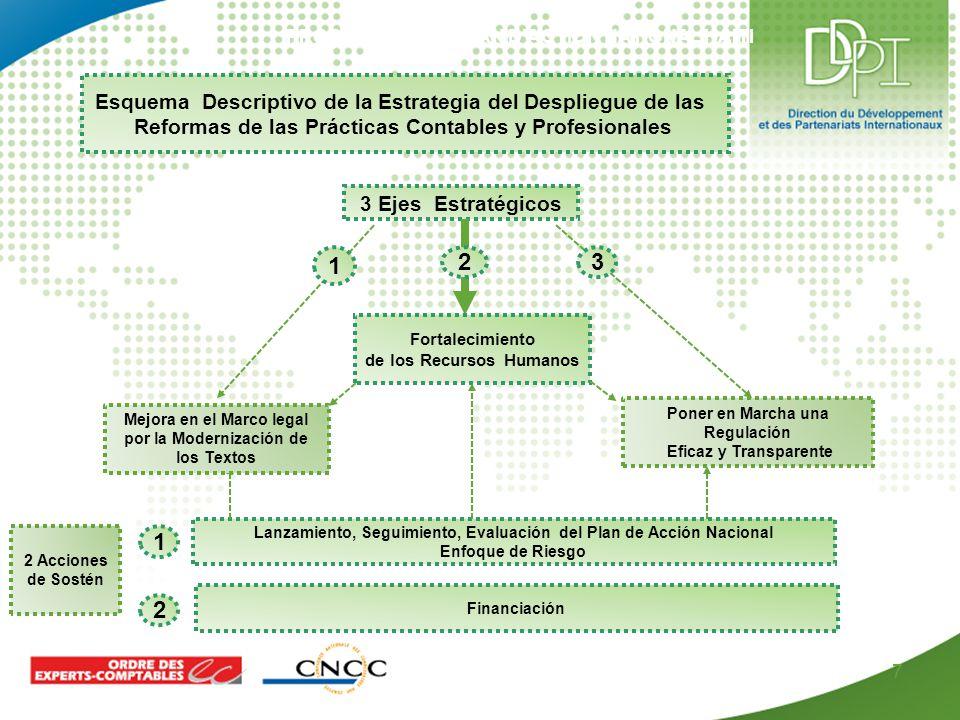 PROPOSITION DE PLAN D'ACTION NATIONAL HAITI 7 3 Ejes Estratégicos Esquema Descriptivo de la Estrategia del Despliegue de las Reformas de las Prácticas Contables y Profesionales Fortalecimiento de los Recursos Humanos Poner en Marcha una Regulación Eficaz y Transparente Lanzamiento, Seguimiento, Evaluación del Plan de Acción Nacional Enfoque de Riesgo Financiación 2 Acciones de Sostén 1 2 32 1 Mejora en el Marco legal por la Modernización de los Textos