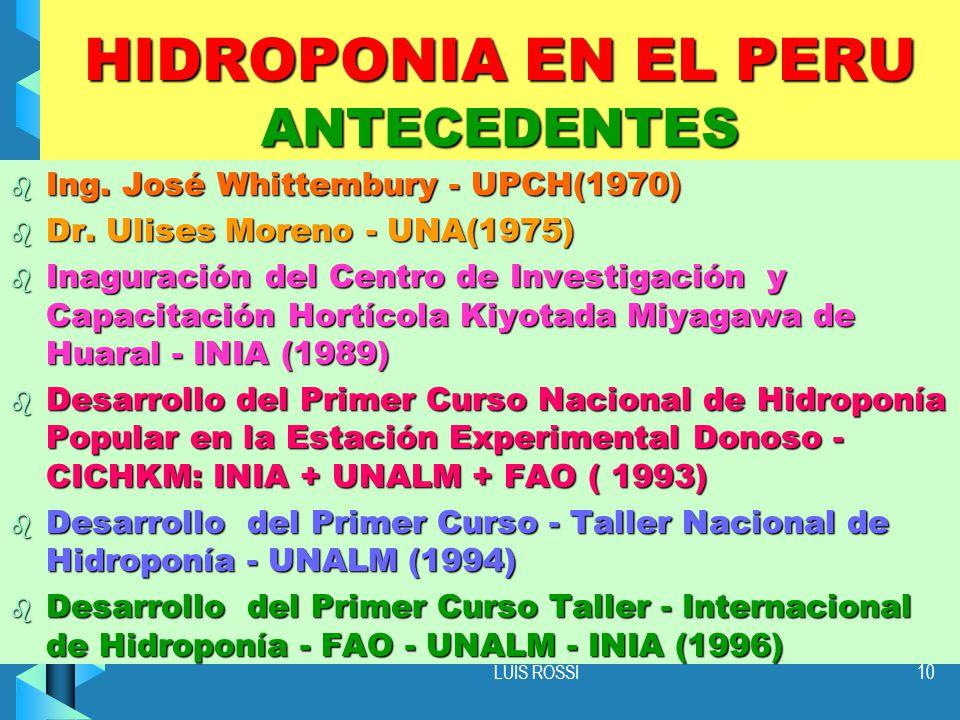 LUIS ROSSI10 HIDROPONIA EN EL PERU ANTECEDENTES b Ing.