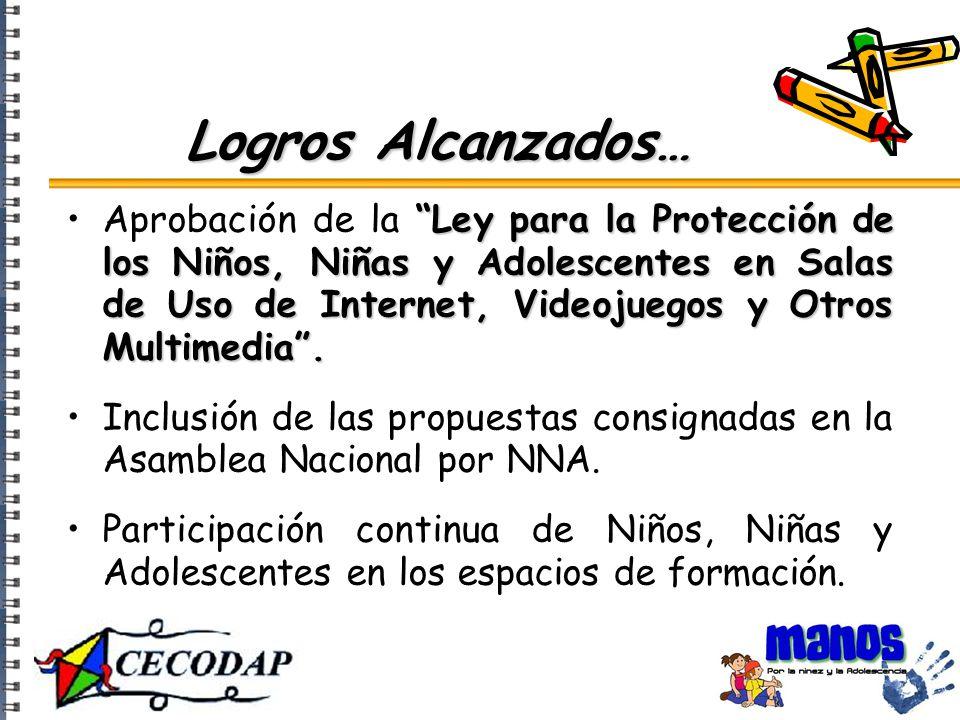 Ley para la Protección de los Niños, Niñas y Adolescentes en Salas de Uso de Internet, Videojuegos y Otros Multimedia .Aprobación de la Ley para la Protección de los Niños, Niñas y Adolescentes en Salas de Uso de Internet, Videojuegos y Otros Multimedia .