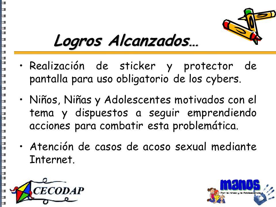 Realización de sticker y protector de pantalla para uso obligatorio de los cybers.