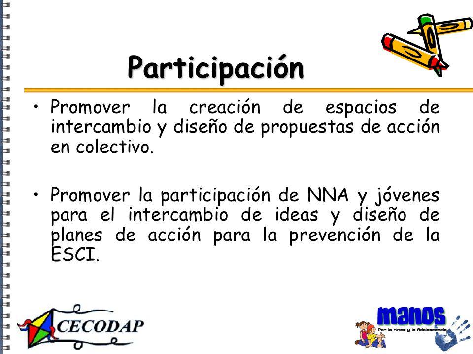 Participación Promover la creación de espacios de intercambio y diseño de propuestas de acción en colectivo.
