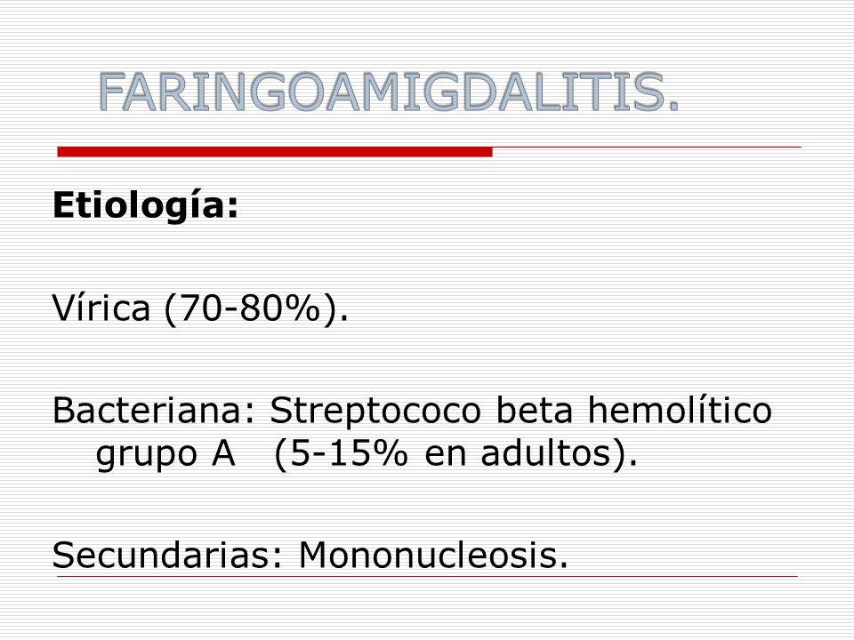 Etiología: Vírica (70-80%). Bacteriana: Streptococo beta hemolítico grupo A (5-15% en adultos).