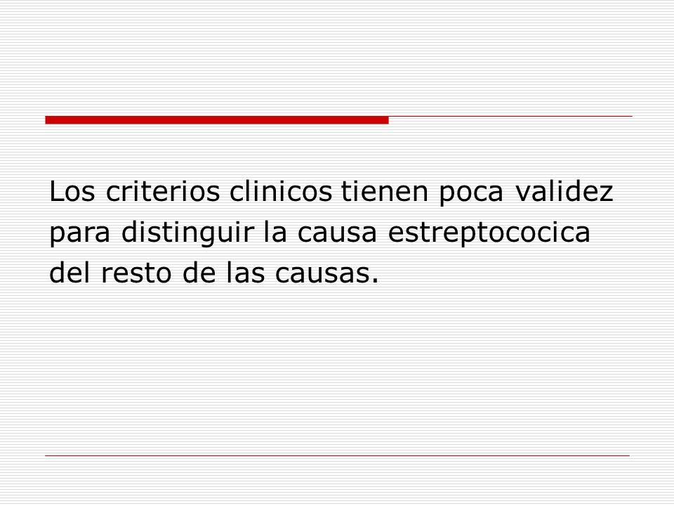 Los criterios clinicos tienen poca validez para distinguir la causa estreptococica del resto de las causas.