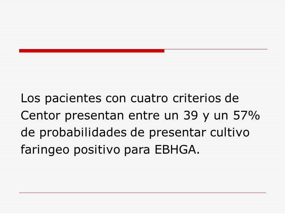 Los pacientes con cuatro criterios de Centor presentan entre un 39 y un 57% de probabilidades de presentar cultivo faringeo positivo para EBHGA.