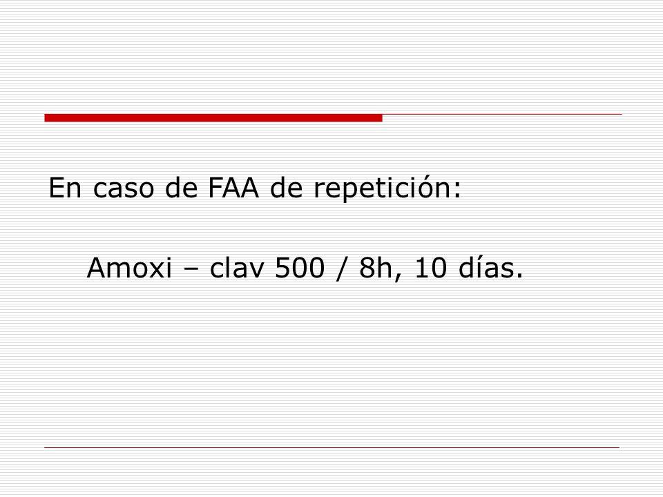 En caso de FAA de repetición: Amoxi – clav 500 / 8h, 10 días.