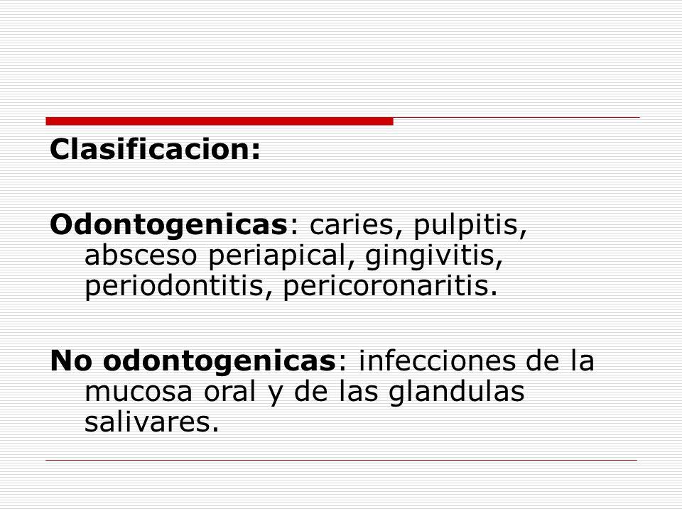 Clasificacion: Odontogenicas: caries, pulpitis, absceso periapical, gingivitis, periodontitis, pericoronaritis.