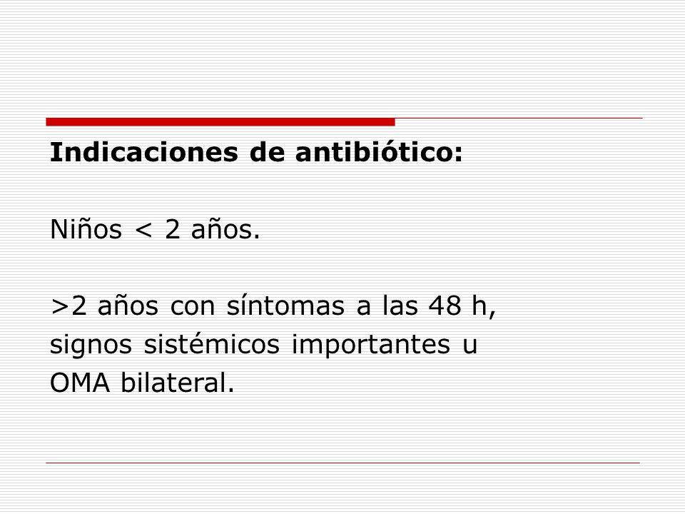Indicaciones de antibiótico: Niños < 2 años.