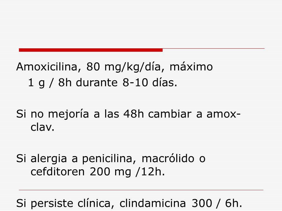 Amoxicilina, 80 mg/kg/día, máximo 1 g / 8h durante 8-10 días.