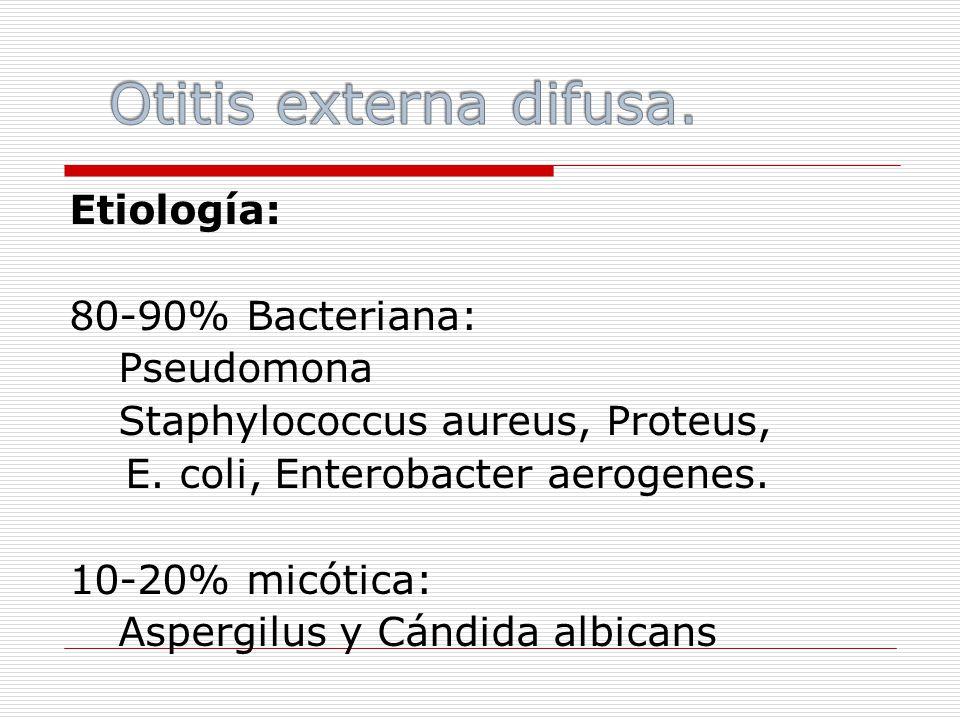 Etiología: 80-90% Bacteriana: Pseudomona Staphylococcus aureus, Proteus, E.