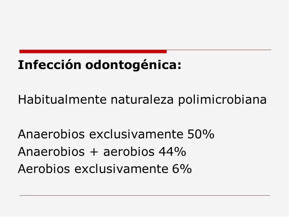 Infección odontogénica: Habitualmente naturaleza polimicrobiana Anaerobios exclusivamente 50% Anaerobios + aerobios 44% Aerobios exclusivamente 6%
