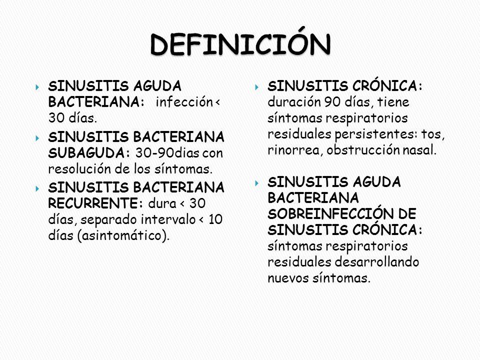  SINUSITIS AGUDA BACTERIANA: infección < 30 días.  SINUSITIS BACTERIANA SUBAGUDA: 30-90dias con resolución de los síntomas.  SINUSITIS BACTERIANA R