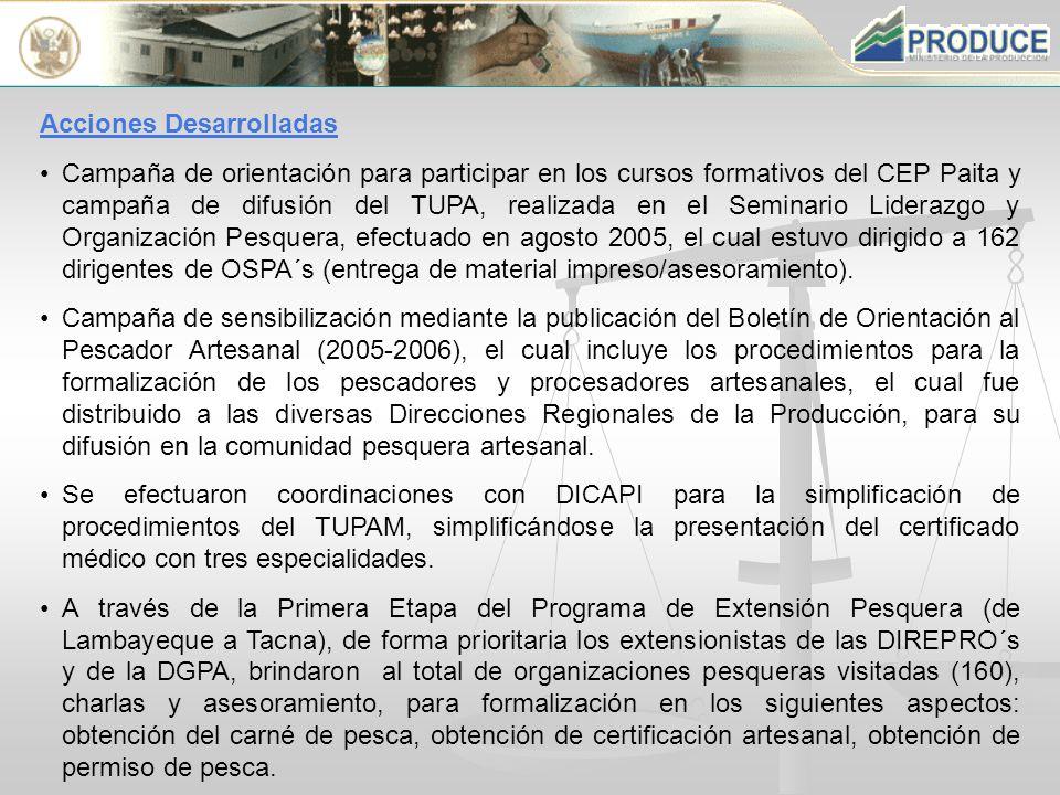 Acciones Desarrolladas Campaña de orientación para participar en los cursos formativos del CEP Paita y campaña de difusión del TUPA, realizada en el Seminario Liderazgo y Organización Pesquera, efectuado en agosto 2005, el cual estuvo dirigido a 162 dirigentes de OSPA´s (entrega de material impreso/asesoramiento).