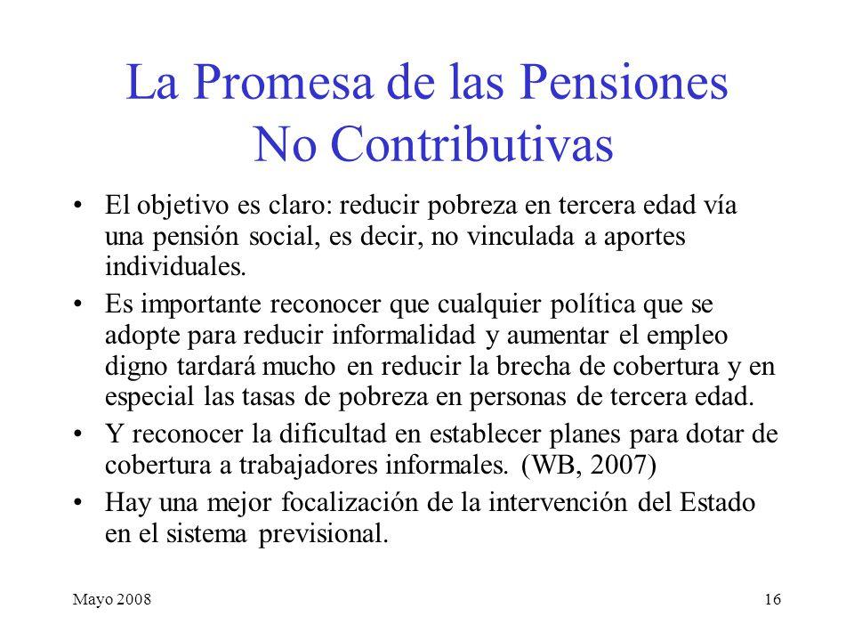 Mayo 200816 La Promesa de las Pensiones No Contributivas El objetivo es claro: reducir pobreza en tercera edad vía una pensión social, es decir, no vinculada a aportes individuales.