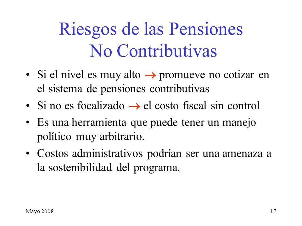 Mayo 200817 Riesgos de las Pensiones No Contributivas Si el nivel es muy alto  promueve no cotizar en el sistema de pensiones contributivas Si no es focalizado  el costo fiscal sin control Es una herramienta que puede tener un manejo político muy arbitrario.