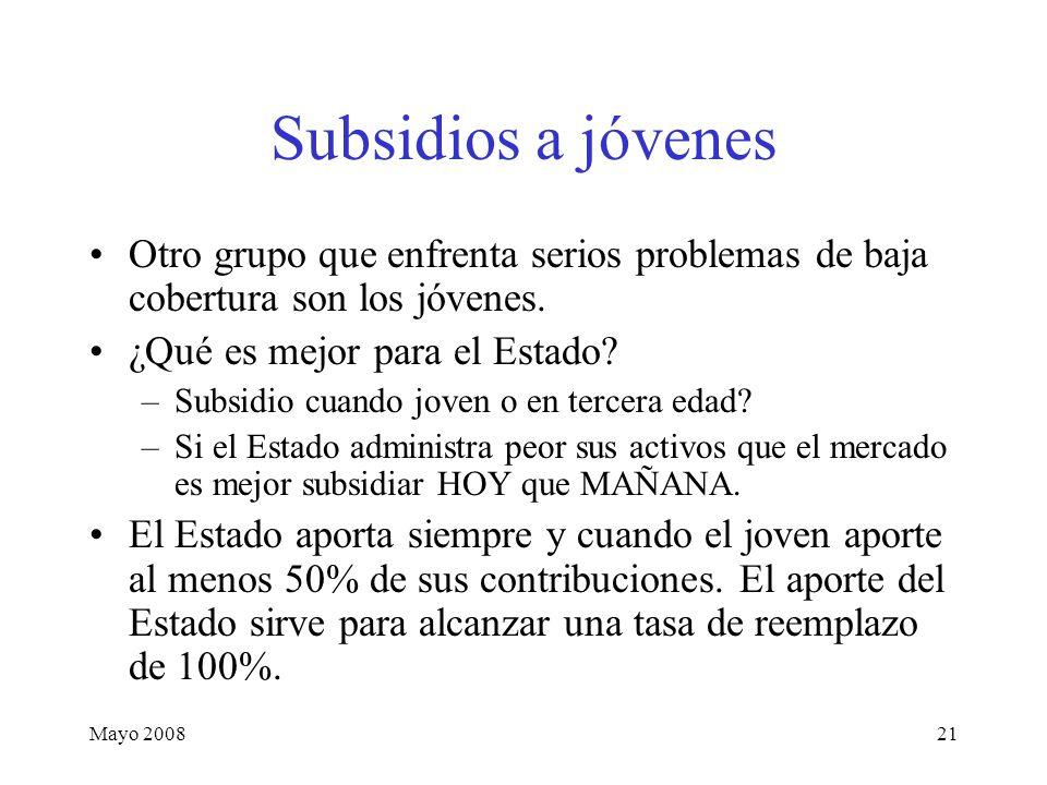 Mayo 200821 Subsidios a jóvenes Otro grupo que enfrenta serios problemas de baja cobertura son los jóvenes.