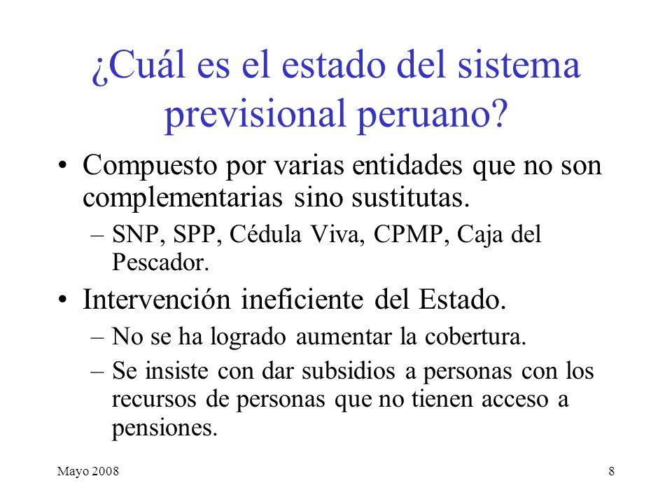 Mayo 200819 Costos de las Pensiones no Contributivas (como porcentaje del PBI) Pobres total Solo pobres extremos