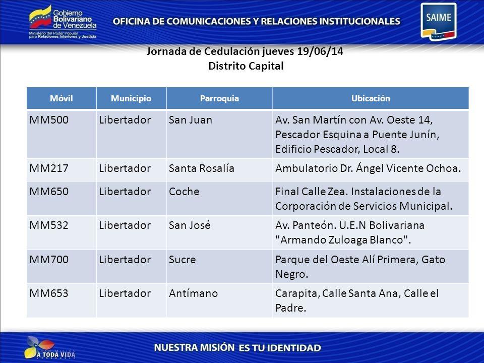 Jornada de Cedulación jueves 19/06/14 Distrito Capital MóvilMunicipioParroquiaUbicación MM500LibertadorSan JuanAv.
